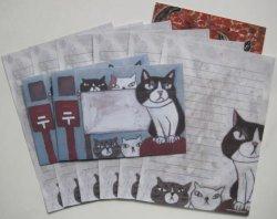 画像1: レターセット(猫とポスト)